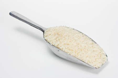 jasmine rice in aluminum spoon