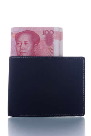 stack of yuan notes in wallet