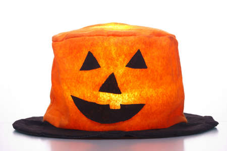 light in halloween hat  isolated on background