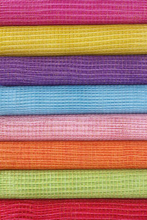 rolls of colorful gift wrapping mesh Stock Photo