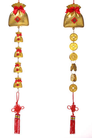trinket: chinese new year ornament , hanging gold coins and gold bags with the letter of wealthy