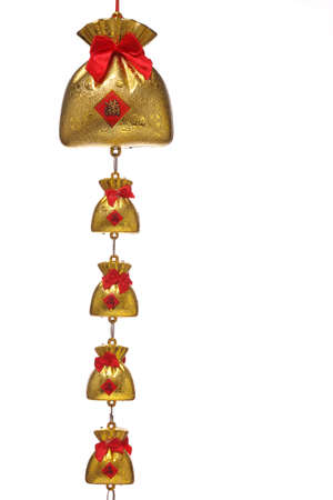trinket: chinese new year ornament , hanging gold bags with the letter of wealthy