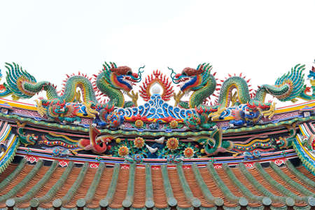 Two colorful Chinese dragons on the roof of  a Chinese temple photo