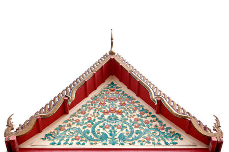 gable of buddhist temple isolated on white background