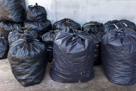 pile of black garbage bags photo