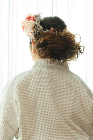 back view of elegant bridal hairstyle with headdress