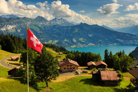 interlaken: View of Interlaken with Swiss flag ,Switzerland
