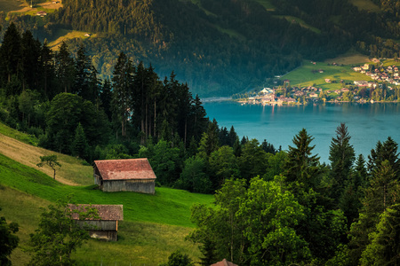 interlaken: View of a house with mountain and lake background at Interlaken ,Switzerland