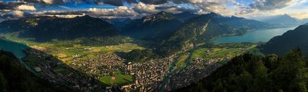 interlaken: Panoramic view of Interlaken cityscape from Harderkulm ,Switzerland