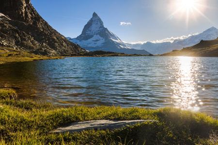 View of Matterhorn Mountain with lake at Zermatt ,Switzerland Imagens