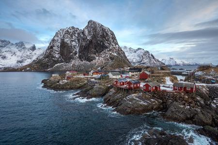 Norwegian fishermans cabins, rorbuer located on Hamnoy island , Reine on Lofoten islands Norway.