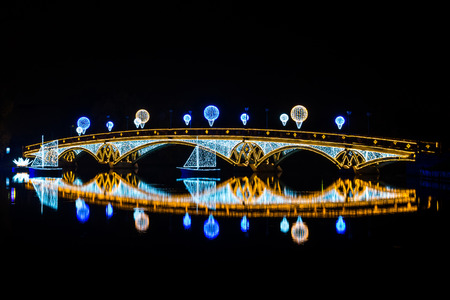 the tsaritsyno: The Crystal Bridge. Festival. Circle Of Light. Russia. Moscow. Tsaritsyno. Stock Photo