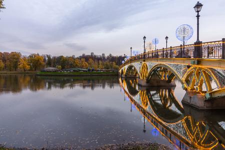 The Crystal Bridge. Festival. Circle Of Light. Russia. Moscow. Tsaritsyno. photo