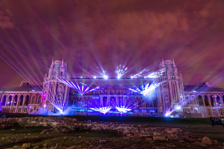 the tsaritsyno: Laser Show. Festival. Circle Of Light. Russia. Moscow. Tsaritsyno. Stock Photo