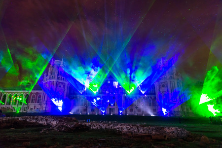 laser show: Laser Show. Festival. Circle Of Light. Russia. Moscow. Tsaritsyno. Stock Photo