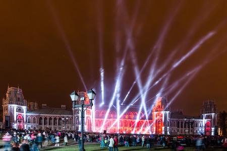 lazer: The Tsaritsino Palace, Tsaritsino, Moscow, Russia - October 14, 2014: the international festival Circle of Light, the Lazer Show Editorial
