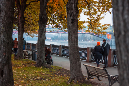 gorky: Autumn 2013. Russia. Moscow.Central Park of Culture and Rest named after Gorky. Embankment of the Moscow river.