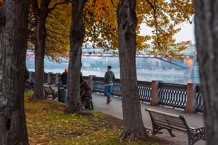 named: Autumn 2013. Russia. Moscow.Central Park of Culture and Rest named after Gorky. Embankment of the Moscow river.