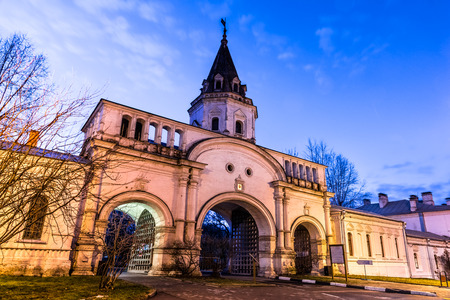 Autumn 2014. Evening. Russia. Moscow. Izmailovsky Island. The town is named after Bauman. The Front Gate. The monument  of architecture 1682. The Main entrance to the territory of the Tsar Editorial