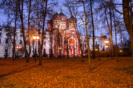 named: Autumn 2014. Evening. Russia. Moscow. Izmailovsky Island. The town is named after Bauman. Pokrovsky Cathedral (in the center). Stock Photo
