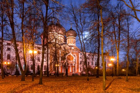 pokrovsky: Autumn 2014. Evening. Russia. Moscow. Izmailovsky Island. The town is named after Bauman. Pokrovsky Cathedral (in the center). Stock Photo