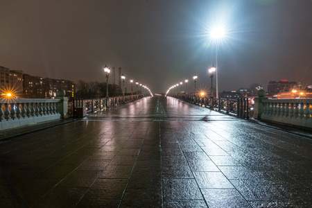 patriarchal: Autumn 2014. Russia. Moscow. Embankment of the Moscow river. The Patriarchal Bridge (Patriarshy Bridge). View from the Cathedral of Christ the Saviour.??Patriarchal Bridge (Russian: Patriarshy Most) is a steel pedestrian box girder bridge that spans Moskv