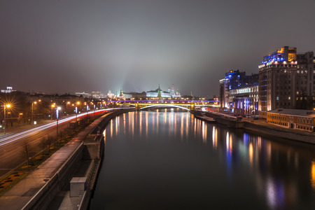 patriarchal: Autumn 2014. Russia. Moscow. View from the Patriarchal Bridge (Patriarshy Bridge) towards the Moscow Kremlin and The Large Stone (Bolshoy Kamenny) Bridge. Editorial