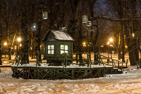winter scenery: Winter 2014. Evening. Russia. Moscow. Central Park of Culture and Rest named after Gorky. Winter scenery in the Park. Little House. Stock Photo