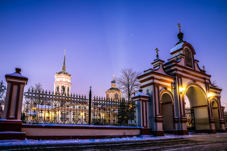 exaltation: Winter 2014. Russia. Moscow. Altufyevo. The Church of the exaltation of the Holy cross in Altufevo (Holy cross Church, the Church of the exaltation).