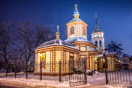 Winter 2014. Russia. Moscow. Altufyevo. The Church of the exaltation of the Holy cross in Altufevo (Holy cross Church, the Church of the exaltation).  View from the highway (View from East). photo