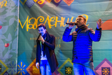 maslenitsa: Winter 2015. Day. Russia. Moscow. Maslenitsa (pancake week). The performance of musical-group the Prime Minister.