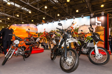demonstrative: Winter 2015. Morning. Russia. Moscow. Crocus-Expo. Exhibition Motopark-2015 (BikePark-2015). The stand with motorcycles. Editorial