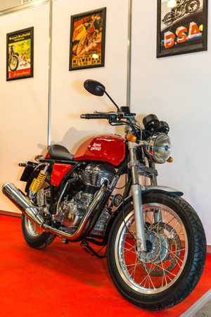 enfield: Winter 2015. Morning. Russia. Moscow. Crocus-Expo. Exhibition Motopark-2015 (BikePark-2015). The motorcycle (bike) Royal Enfield. Editorial