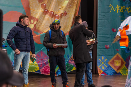 pancake week: Winter 2015. Day. Russia. Moscow. Maslenitsa (pancake week). The Celebration of Maslenitsa (pancake week). The concert in honor of the Holiday. The contestants on stage. Editorial