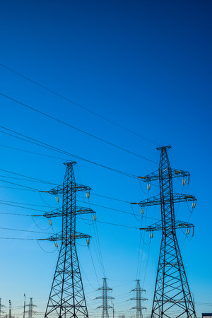 transmission line: Spring 2015. Bright Sunny day. Russia. Moscow. High voltage overhead (air) power transmission line.