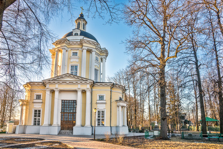 era: Spring 2015. Evening. Russia. Moscow. Estate Vinogradovo. The Temple Of The Vladimir Icon Of The Mother Of God.