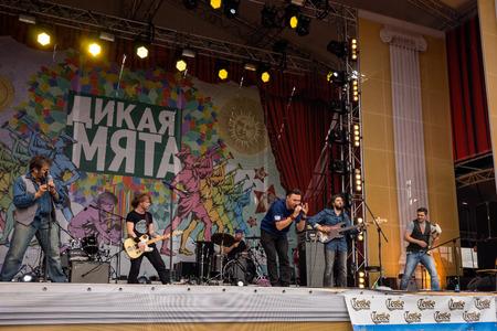 wild mint: RUSSIA. TULA REGION. BUNIREVO - June 27, 2015. Zdob Si Zdub at the musical festival Wild Mint.
