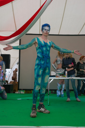 stage props: RUSSIA. TULA REGION. BUNIREVO - June 27, 2015. Musical festival Wild Mint. Demonstration of the diploma works of the students of fashion designer Irina Lukyanova during the masterclass.