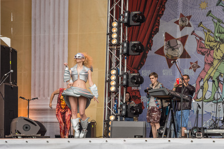 stage props: RUSSIA. TULA REGION. BUNIREVO - June 27, 2015. Parade of Robots on the stage of the music festival Wild Mint. Demonstration of diploma works of students of fashion designer Irina Lukyanova.