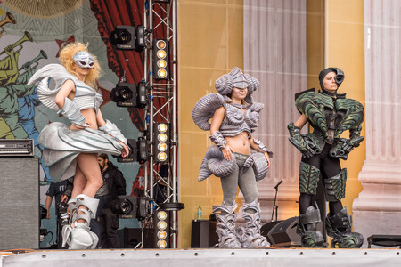 wild mint: RUSSIA. TULA REGION. BUNIREVO - June 27, 2015. Parade of Robots on the stage of the music festival Wild Mint. Demonstration of diploma works of students of fashion designer Irina Lukyanova.