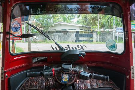 tuktuk: Sri Lanka. Kalutara - August 14, 2015. Tuk-tuk from the inside.