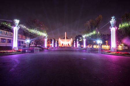 enea: Russia. Moscow - September 28, 2015. The Circle of Light festival 2015. ENEA VDNH. The Central Alley. The Space Pavilion. Rocket.