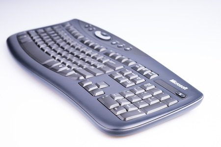 microsoft: Russia. Moscow - April 26, 2015. Microsoft keyboard on a white background.