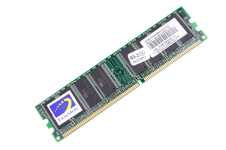 dimm: Russia. Moscow - April 26, 2015. TwinMOS DIMM DDR SD-RAM Card   PC2700 256MB on a white background. Editorial