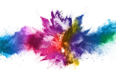 abstract powder splatted background. Colorful powder explosion on white background. Colored cloud. Colorful dust explode. Paint Holi. Stock Photo