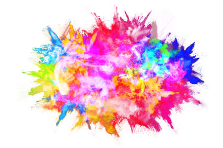 abstract powder splatted background. Colorful powder explosion on white background. Colored cloud. Colorful dust explode. Paint Holi. Archivio Fotografico
