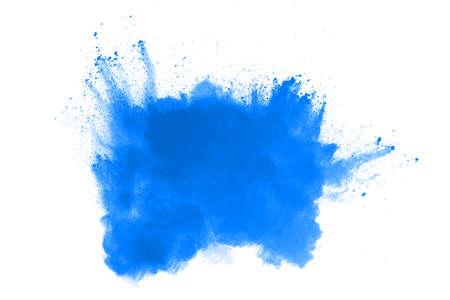 Blue color powder explosion on white background. Colored cloud. Colorful dust explode. Paint Holi. Foto de archivo