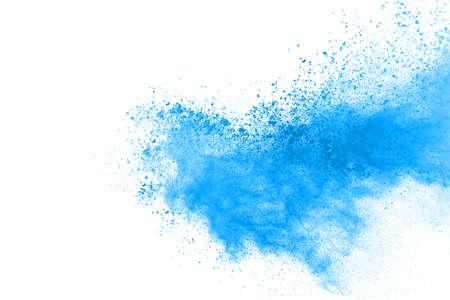 Blue color powder explosion on white background. Colored cloud. Colorful dust explode. Paint Holi. Archivio Fotografico