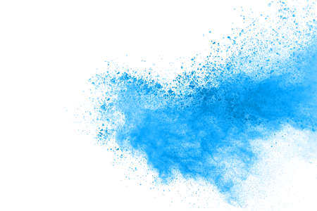 Blue color powder explosion on white background. Colored cloud. Colorful dust explode. Paint Holi. Фото со стока