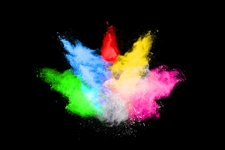 abstract colored dust explosion on a black background.abstract powder splatted background,Freeze motion of color powder exploding/throwing color powder, multicolored glitter texture. Reklamní fotografie